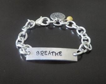 BREATHE Hand Stamped Tranquility Serenity Yoga Pilates Chakra Bead Bracelet You Choose Charm and Chakra Bead Color(s)