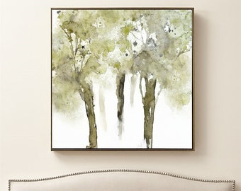 Square Art Landscape Wall Art, Tree Painting Watercolor Print, Tree Print, Green Watercolor Painting, Square Print, Tree Artwork, Tree Art
