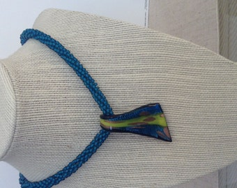 Bead crochet necklace with focal glass bead