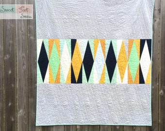 Modern Geometric Throw Quilt with Minky