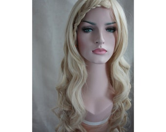 Long Curly blonde Wig. Golden wig High quality synthetic color wig high heat resistant