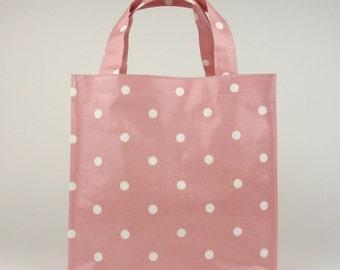 Tote bag - Oilcloth bag - Lunch bag - Tote - Oilcloth tote bag - Oilcloth lunch bag - Small lunch bag - Polka dot bag - Pink polka dot