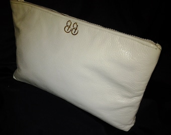 Ivory leather beach wedding summer evening resort bridesmaid  fold over clutch BBsCustomClutches
