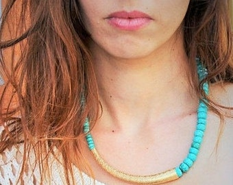 Turquoise Statement necklace turquoise necklace gold , Gold Pendant, Asymmetric Necklace, Handmade Jewelry, Bohemian necklace