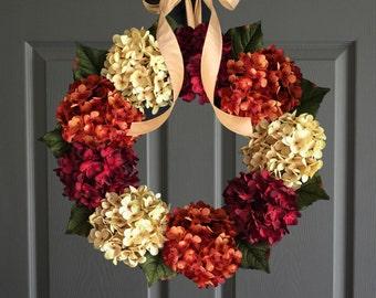 Fall Hydrangea Wreath for Door | Front Door Wreaths | Outdoor Wreath | Fall Wreaths | Summer Wreath | New Home Housewarming Gift