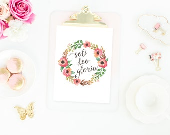 Soli deo Gloria  Printable // Instant Download // Glory to God Alone // The Busy Bee