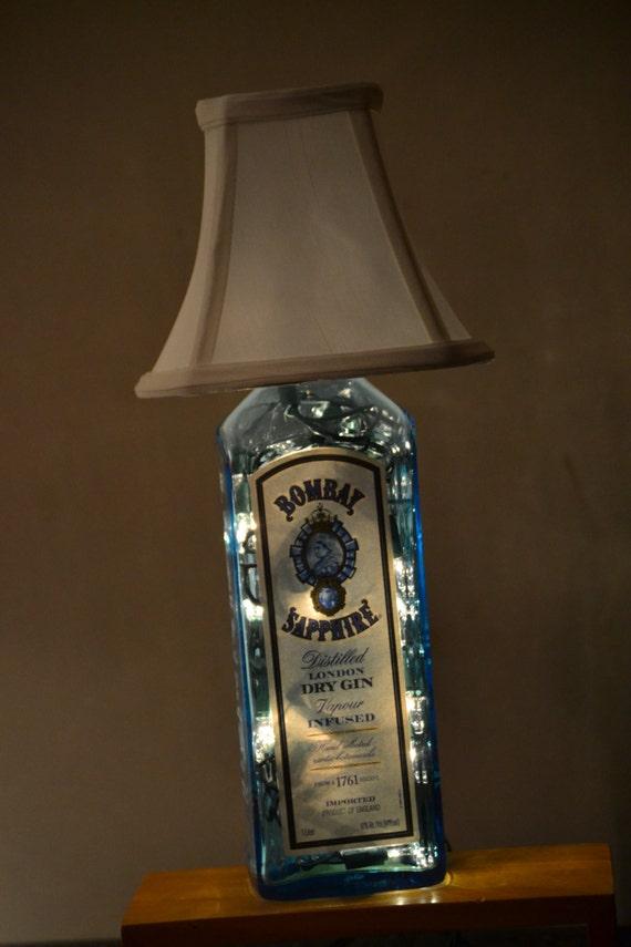 Liquor bottle lamp bombay 1 glass bottle art by racheloveart for Liquor bottle art