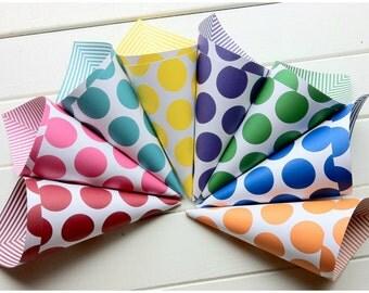 Polka Dot Cones - Popcorn Cones - Carnival Cones - Circus Cones - Party Snack Cups - Candy Cone - Wedding Candy Bar - Cotton Candy Cone