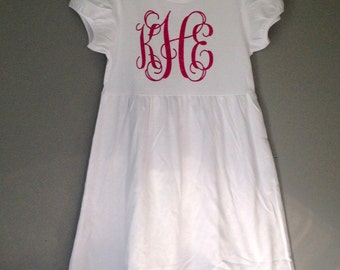 White Empire Waist Dress with Glitter Monogram