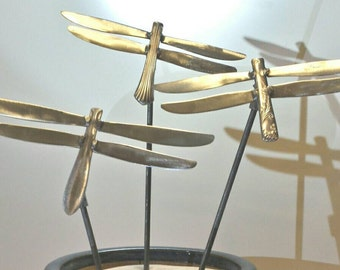 Set Of 3 Dragonfly Yard Art Garden Stakes, Metal Dragonfly, Unique Yard  Ornament,