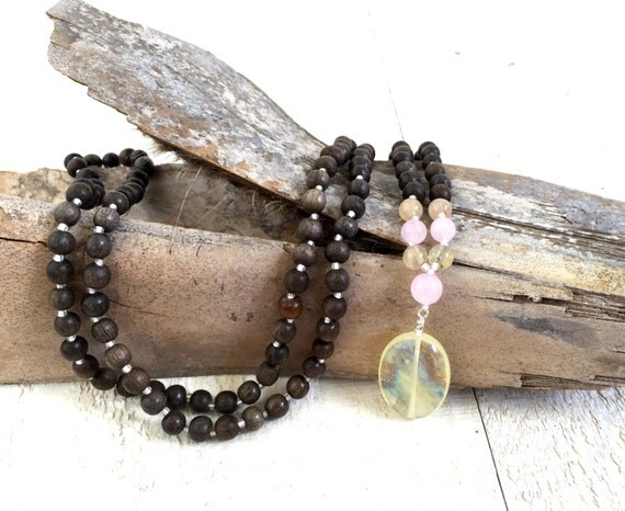 Pineapple Quartz Mala Beads, Wood Mala Beads, Quartz Mala Necklace, Gypsy Jewelry, Yoga Jewelry, Bohemian Necklace