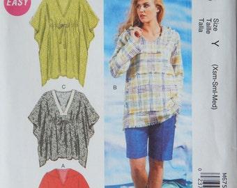 Womens Tunics Sewing Pattern/McCall's 6753 Easy/ Misses Size XS-S-M 4,6,8,10,12,14/tunic shirt, waist tie, hood, caftan hippie Uncut