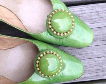 Vintage Green Women's Heels, Vintage Ehari, Sohari Ehinger Design, Ray Ehinger, Size 8, Green Heels