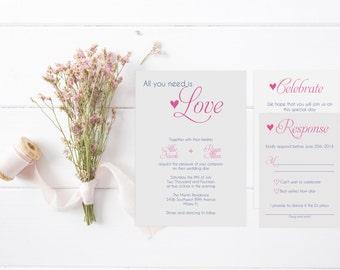 All You Need is Love Wedding Invitation Suite-DIGITAL/PRINTABLE
