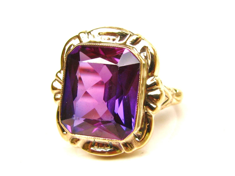 Vintage Emerald Cut Purple Sapphire Ring 6.00ct Alternative
