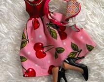 bratz dress/ bratz clothes/ bratz outfit/ repaint outfit/ repaint bratz, up cycled bratz, ooak bratz/ bratz shoes/ feet/ purse