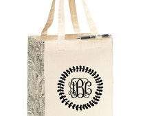 Personalized Tote Bag - Monogrammed Gift - Bridal Party Gifts - Custom Tote Bags - Market Tote - Shopping Bag - Organic Cotton Tote