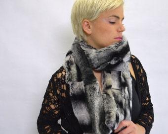 Real fur scarf, rex rabbit fur scarf , wrap scarf, extra long infinity scarf. Genuine dyed rex rabbit, look chinchilla fur scarf, rex scarf