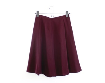 90's Wine Colored High Waisted Polyester Skater Skirt