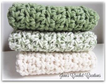 Crochet Washcloths, Eco Friendly, Crochet Dishcloths, Green, 100% Cotton, Wash Cloth, Wash Rag, Kitchen Towel, Housewarming Gift, Reusable