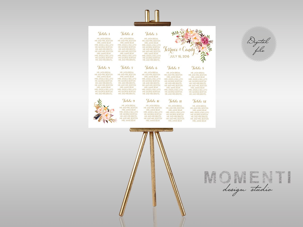 Wedding seating chart printable Gold guests list watercolor – Guest Seating Chart Template