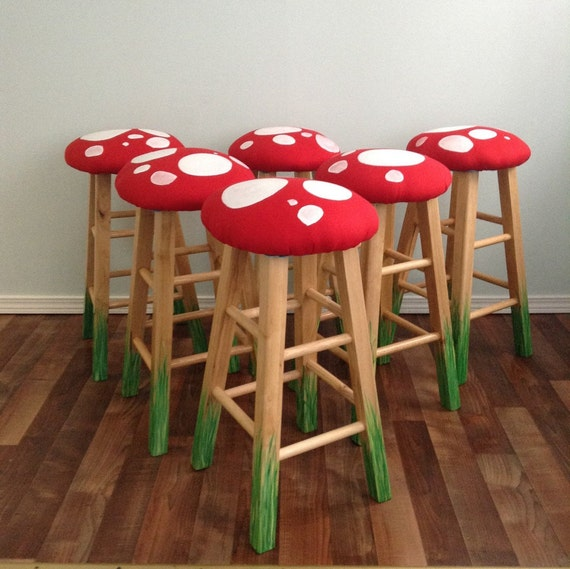 "24"" Wooden Stool, Red White Mushroom Stool - Counter Stool - Desk Stool - Whimsy Furniture - Kitchen Stool - toadstool"