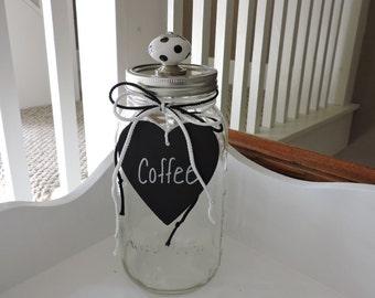 Coffee Mason Jar Container | Kitchen Decor | Large Glass Coffee Jar | Coffee Storage Container | Coffee Storage | Kitchen Accessories