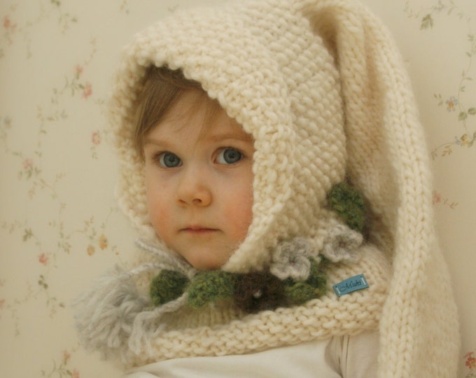 KNITTING PATTERN long tail hoodie and cowl set Piper (baby/toddler/child/adult sizes)