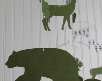 Woodland Animals Mobile - Green Trees