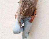 OOAK, summer knit poncho, natural wearing, linen poncho, cotton wrap, ecru poncho, hand knit, summer knitwear,