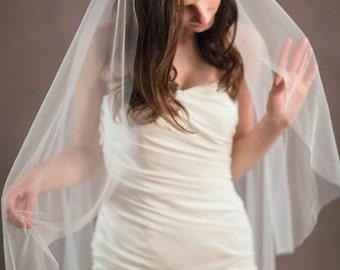 Lace wedding veil, lace veil, mantilla veil, one tier veil with beaded appliques, soft tulle veil, soft veil, ivory veil