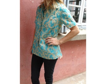 1970s brocade turquoise and gold TUNIC// Mod tunic // Tunics // 1970s mini dress // size us 6