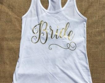 Bride Racerback Tank - Custom Bride Tank- Custom Wedding Party Tanks