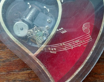 Vintage heart shaped music box