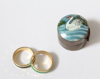 Vintage Dose Schmuckdose Messing Ringe Schwan Ringdose Geschenksdose Hochzeit Verlobung Maritim