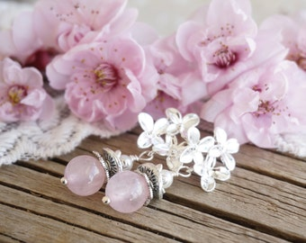 "Bohemian ""Sakura Blossom"" Dangle Earrings, Victorian Shabby Chic Romantic Pastel Pink Wedding Bride Bridesmaid Earrings Jewelry Gift ByLEXY"