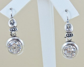 Sterling Silver And Rhinestone Earrings