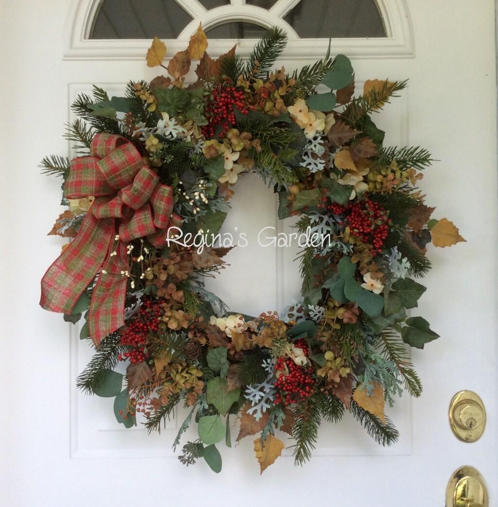 christmas wreath for front door winter door wreath holiday. Black Bedroom Furniture Sets. Home Design Ideas