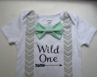 Wild One shirt.Boy first birthday.Boy Wild One onesie.Suspender Onesies.