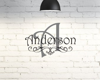Vinyl wall art. Personalized monogram. Family name. Custom vinyl wall decor. Custom wall quote. Wall sayings for entry way, living room