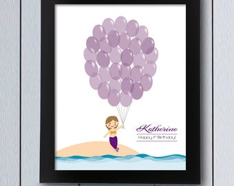 girl birthday guest book mermaid printable pdf baby shower guestbook balloon signature first idea