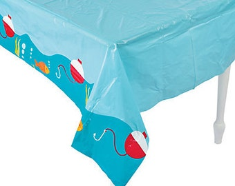 My Fishing Party Tablecloth / fishing theme / fisherman / fish / under the sea