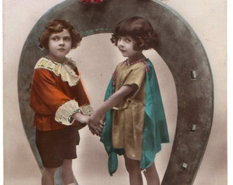 """Belgian vintage postcard """"Bonne Année"""", 1924"""