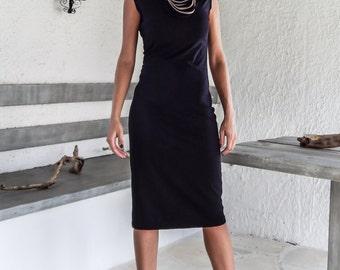 Black Bodycon Midi Dress / Black Party Dress / #35121