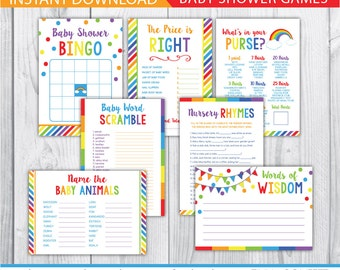 rainbow baby shower games, colorful baby shower games, girl, boy, gender neutral, bingo, the price is right, advice card, baby animals