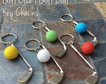Golf Ball/ Golf Club Keychains (golf birthday party favors, golf tournament, golf gift, golfing, thank you)