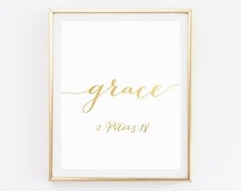 Bible Verse Artwork, Scripture Print, Christian Print, Bible Verse Print, Scripture Art, Grace, Scripture Wall Art, Christian Quotes Decor