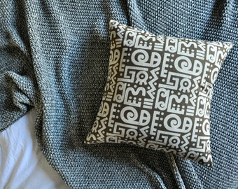 Hieroglyphics Cushion Cover, Throw Pillow Cover, Throw Cushion Cover, Decorative Cushion Cover, Decorative Pillow Cover - Brown