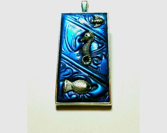 Blue Seahorse Necklace Handmade By Me FREE SHIPPING!!