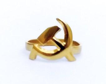 Biker Ring , Communist Symbol Ring , Hammer And Sickle Ring , USSR Biker Ring, Symbol Ring, Biker Jewelry, Goth Ring , Mens Ring , All Sizes